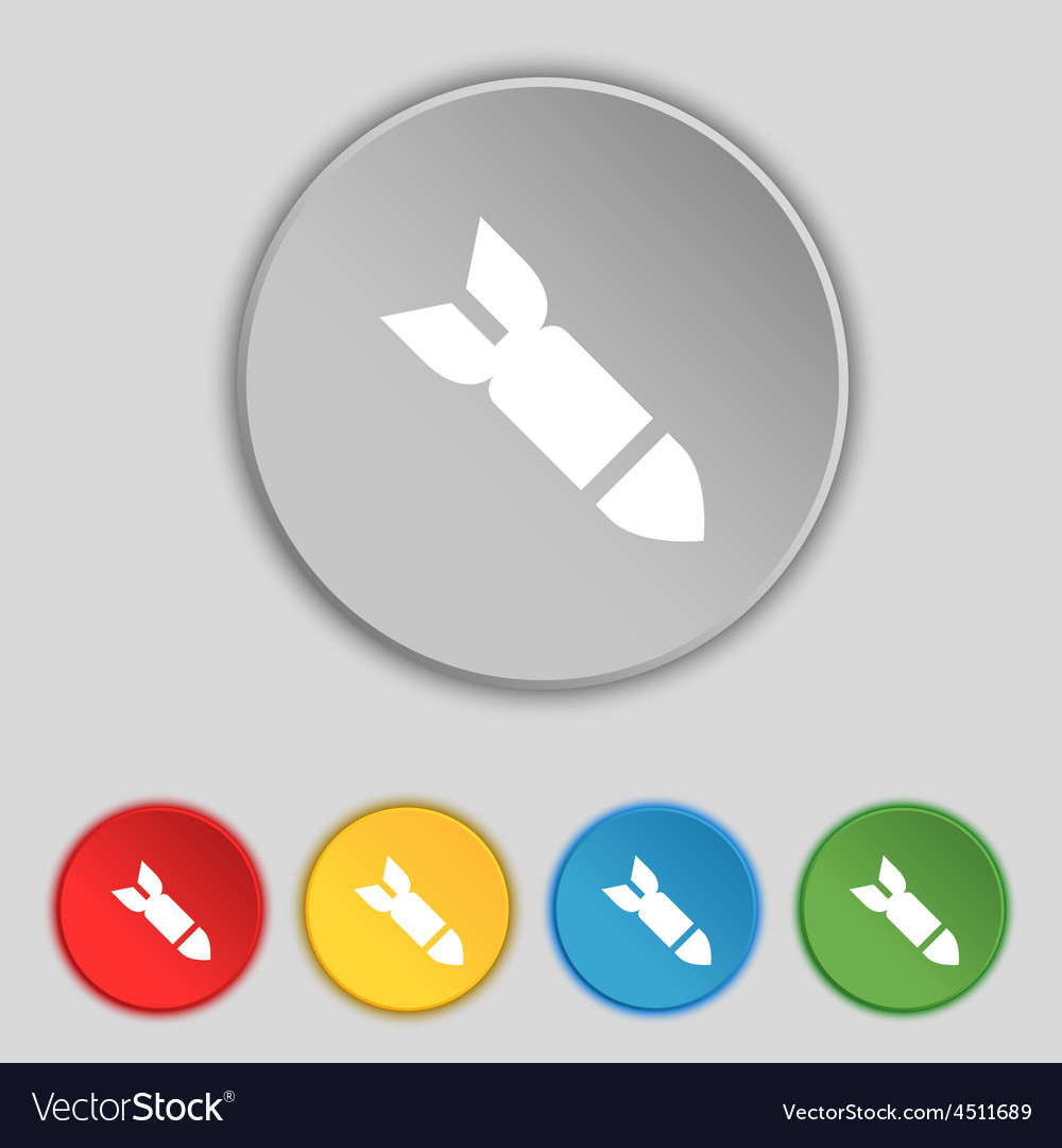 Missilerocket weapon icon sign symbol on five flat vector | Price: 1 Credit (USD $1)