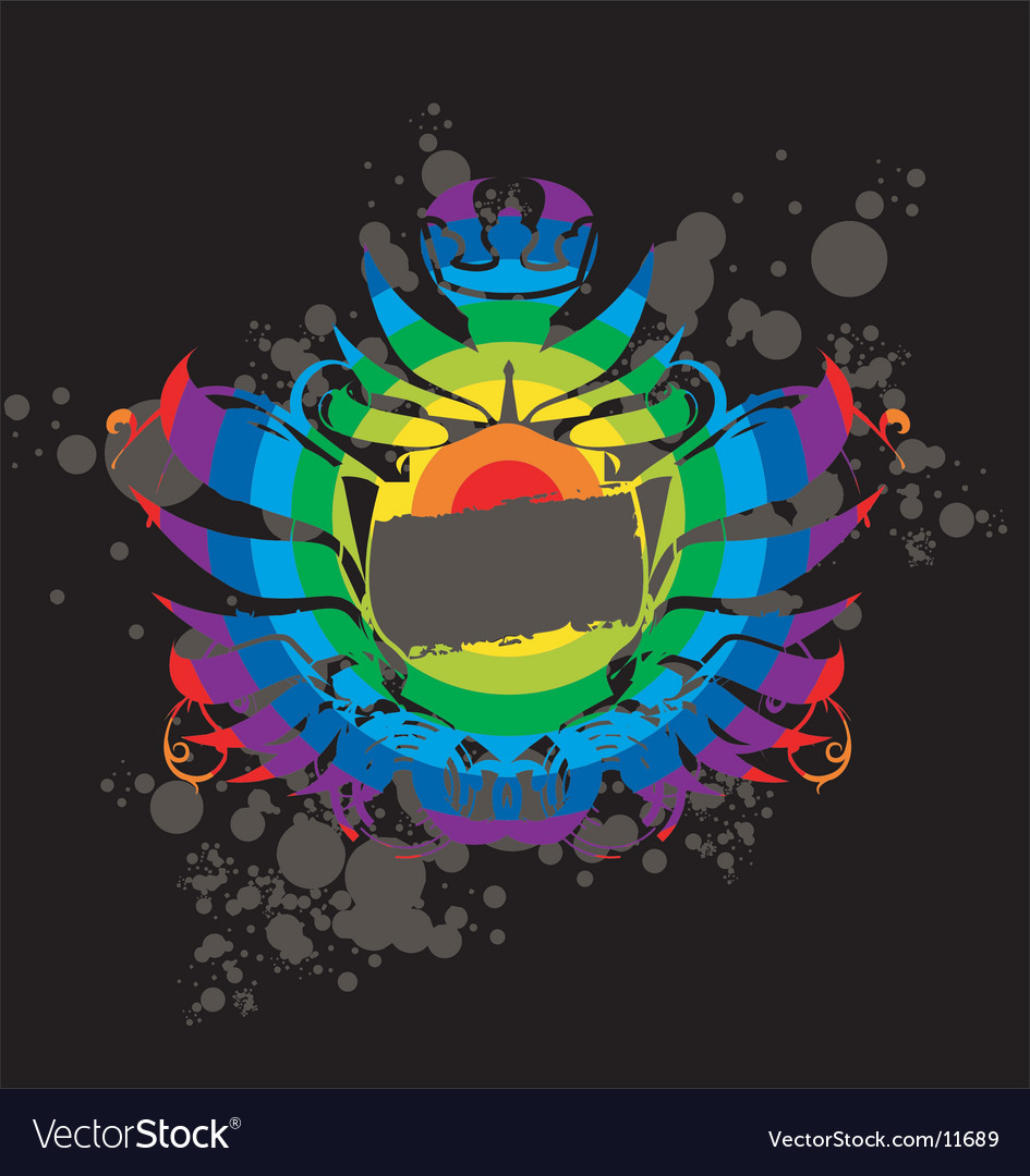 Rainbow grunge label vector | Price: 1 Credit (USD $1)