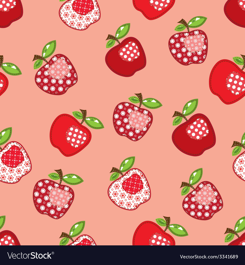 Seamless pattern with patchwork apples vector | Price: 1 Credit (USD $1)