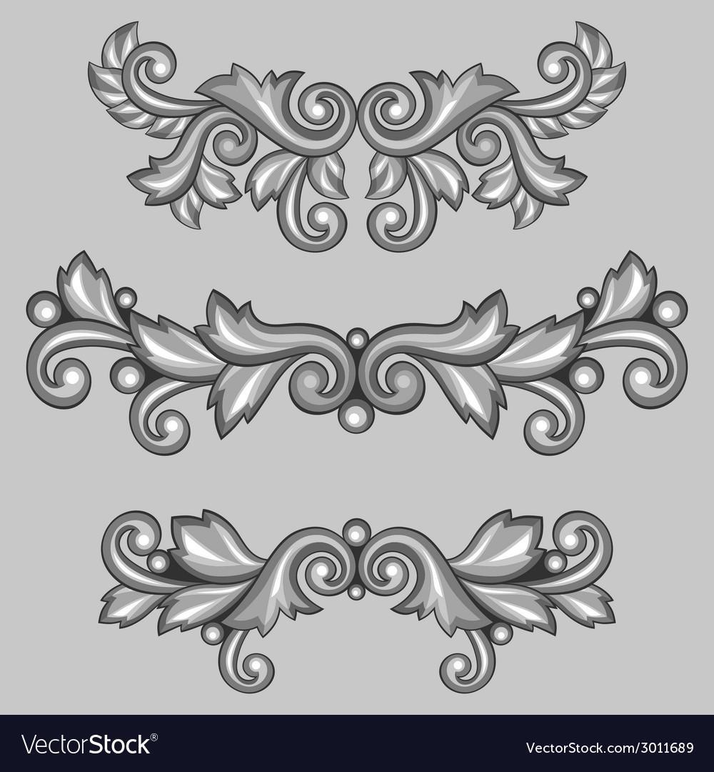 Set of baroque ornamental antique silver scrolls vector | Price: 1 Credit (USD $1)