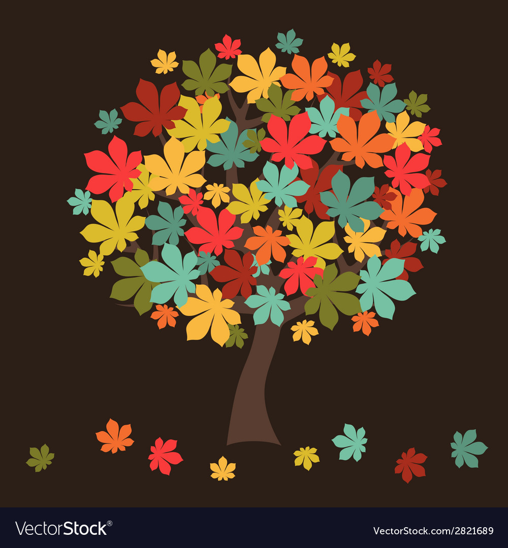 Stylized autumn tree with falling leaves for vector | Price: 1 Credit (USD $1)