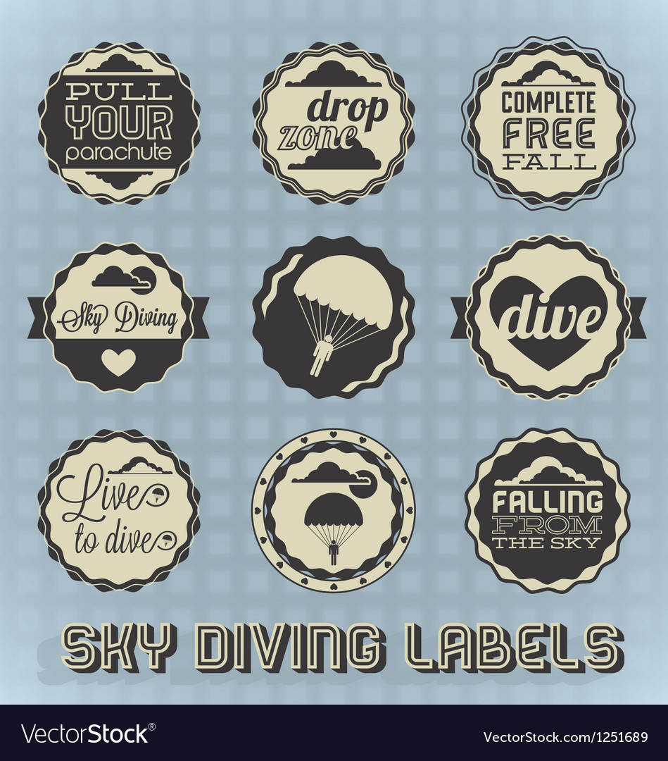 Vintage style skydiving labels vector | Price: 1 Credit (USD $1)
