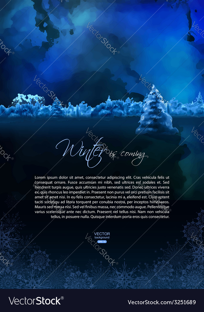 Watercolor winter night flyer vector | Price: 1 Credit (USD $1)