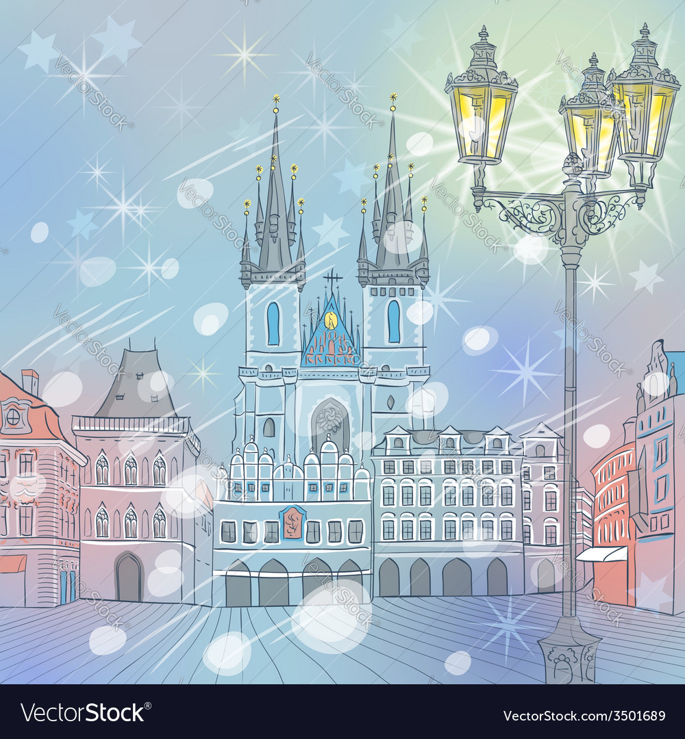 Winter christmas old town square in prague vector | Price: 1 Credit (USD $1)