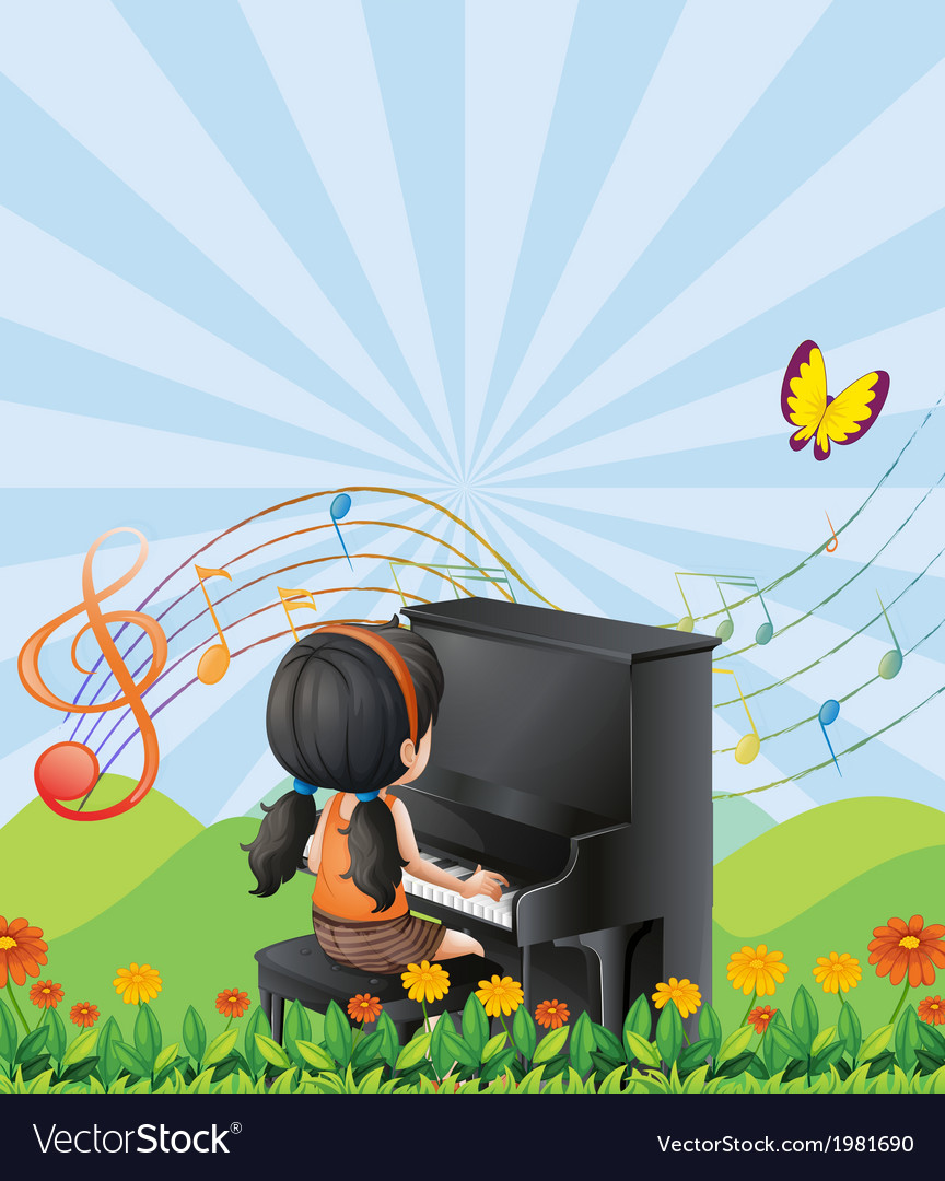A girl playing with the piano at the hills vector | Price: 1 Credit (USD $1)