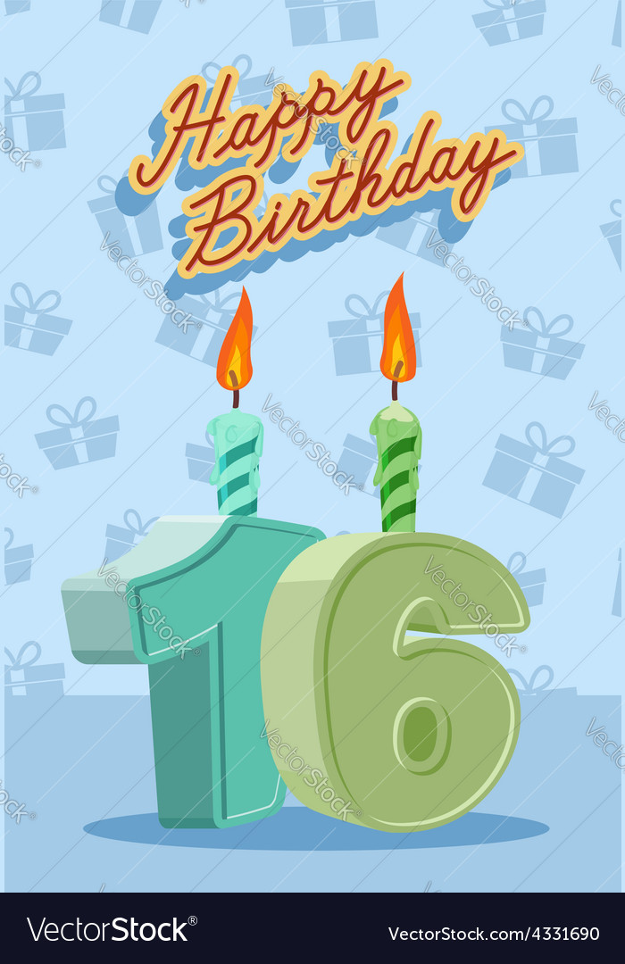 Birthday candle number 16 with flame vector | Price: 1 Credit (USD $1)