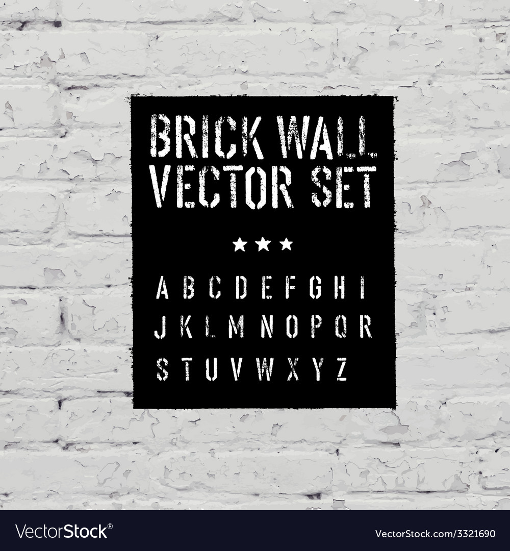 Brick wall and stencil alphabet set vector | Price: 1 Credit (USD $1)