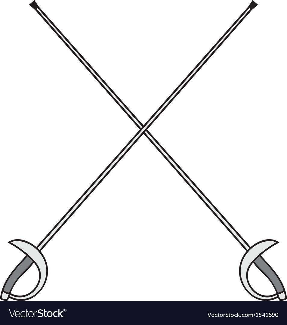 Crossed fencing swords vector | Price: 1 Credit (USD $1)