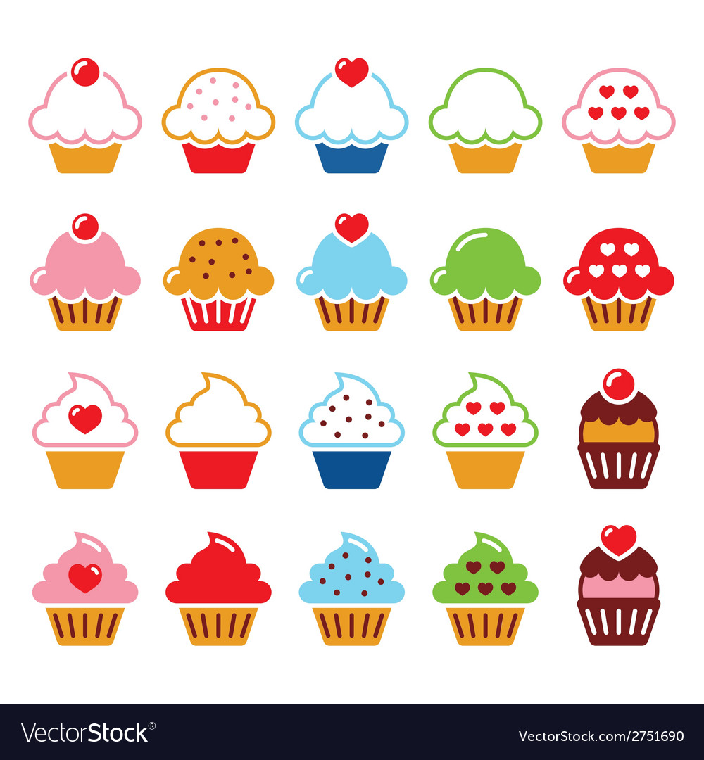 Cupcake with heart cherry and sparkles cute icons vector | Price: 1 Credit (USD $1)