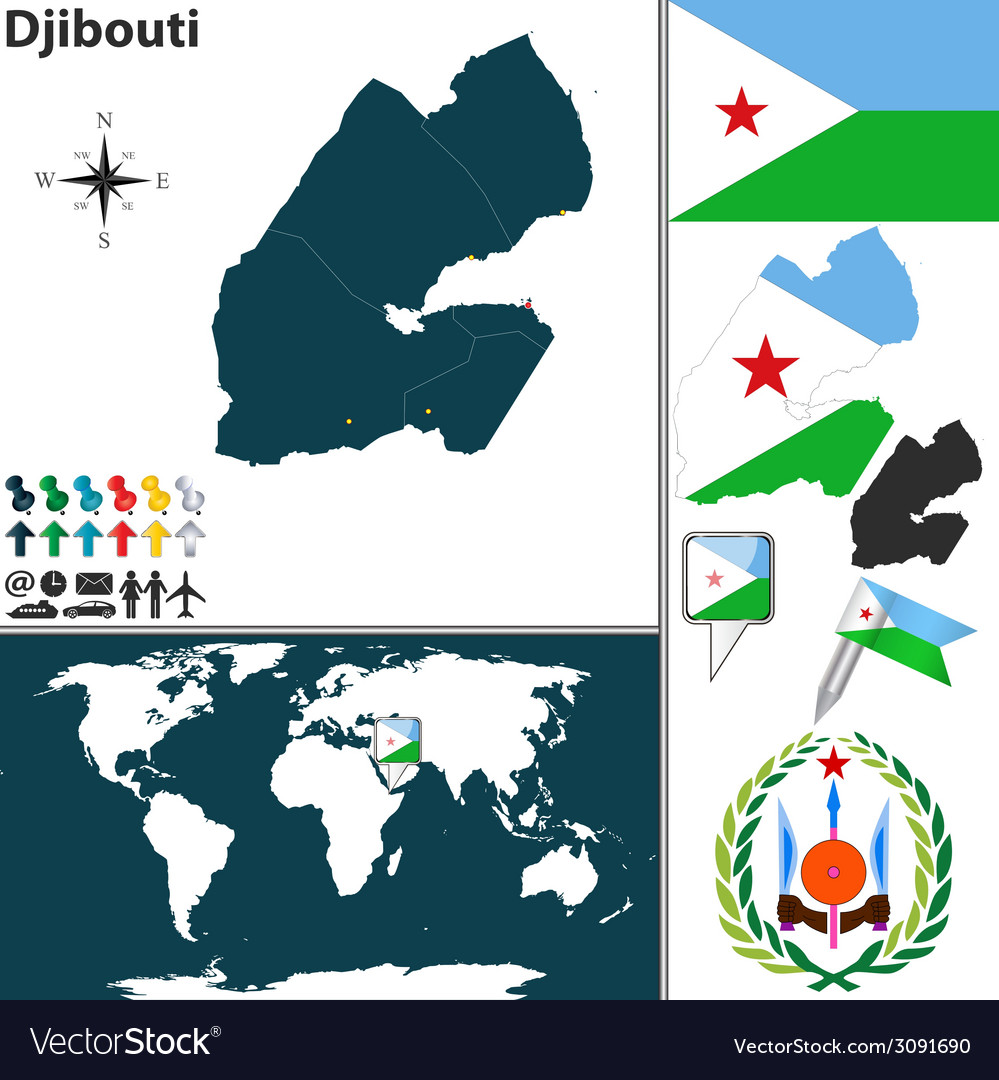 Djibouti map world vector | Price: 1 Credit (USD $1)