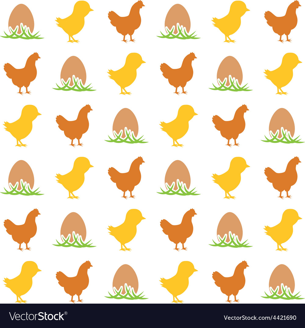 Egg chicken and hen seamless pattern vector | Price: 1 Credit (USD $1)