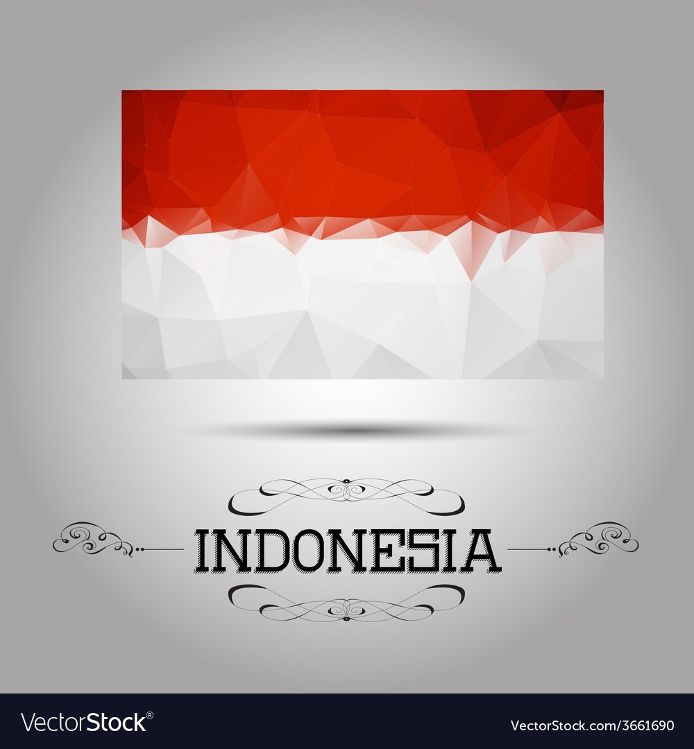 Geometric polygonal indonesia flag vector | Price: 1 Credit (USD $1)