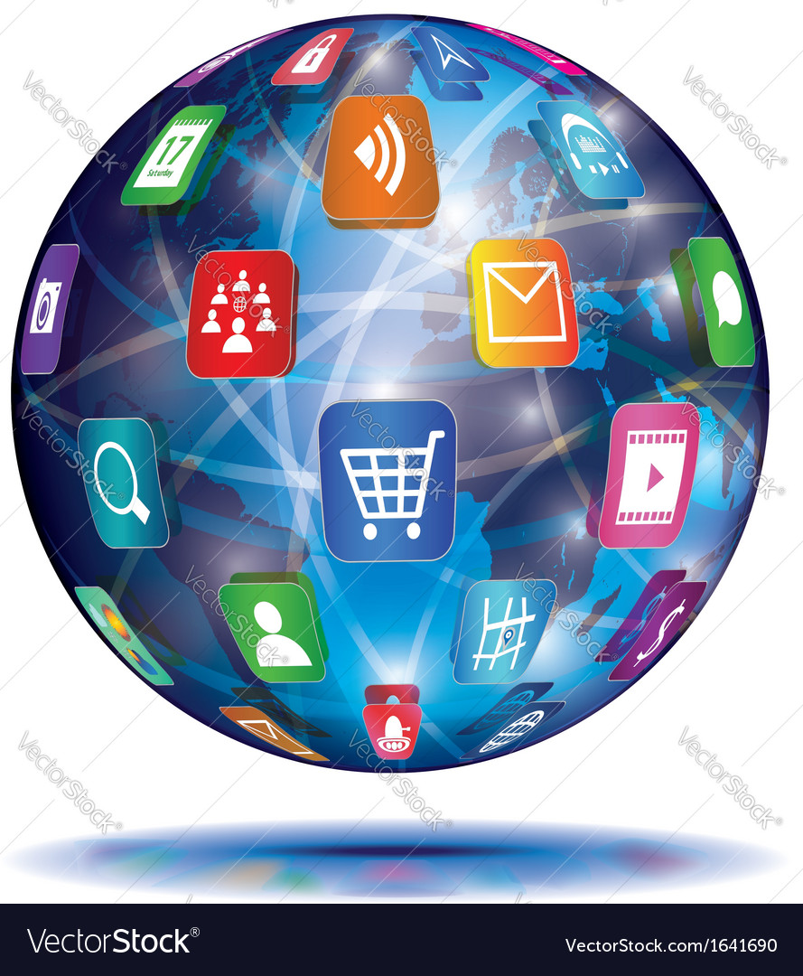 Internet concept globe application icons vector   Price: 1 Credit (USD $1)