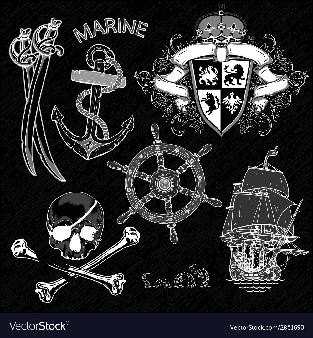 Marine design elements vector | Price: 1 Credit (USD $1)