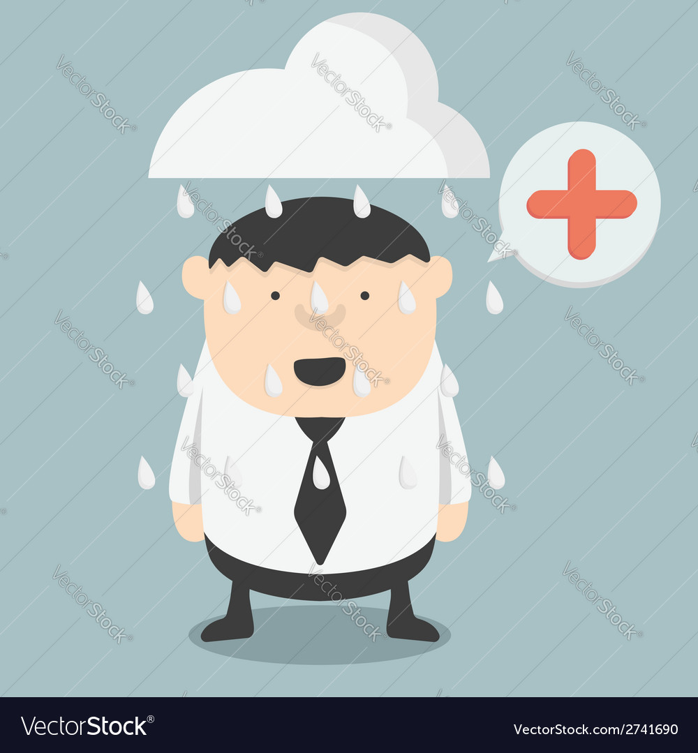 Obese businessman positive thinking vector   Price: 1 Credit (USD $1)