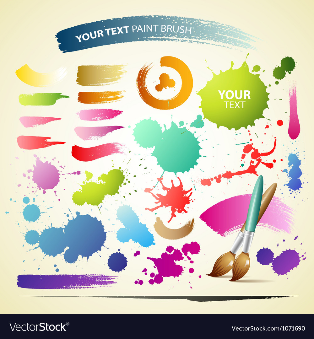 Paint brush colorful watercolor collections backgr vector | Price: 1 Credit (USD $1)