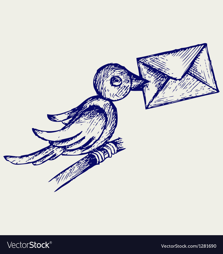 Postal pigeon vector | Price: 1 Credit (USD $1)