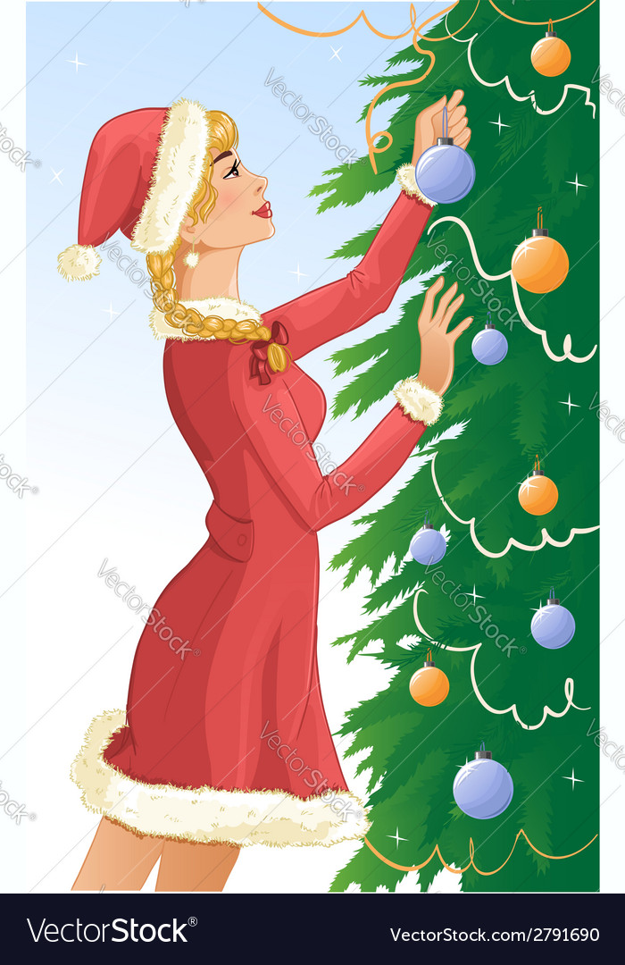 Santa girl decorates a christams tree with balls vector | Price: 1 Credit (USD $1)