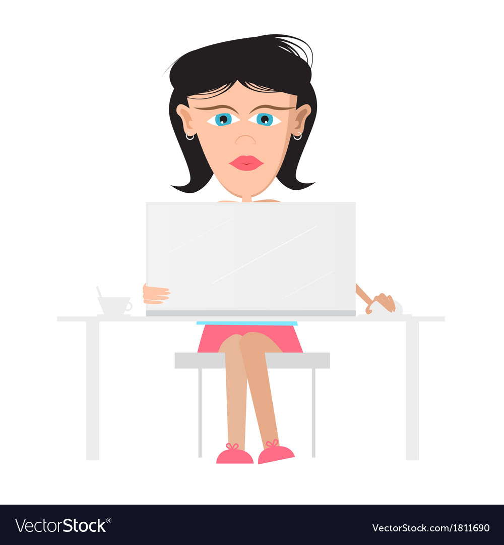 Secretary business woman sitting in office working vector | Price: 1 Credit (USD $1)