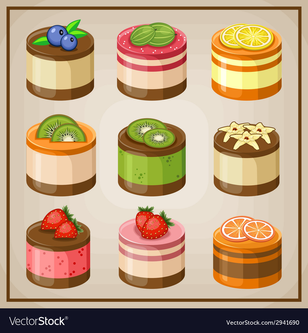Set cupcakes vector | Price: 1 Credit (USD $1)