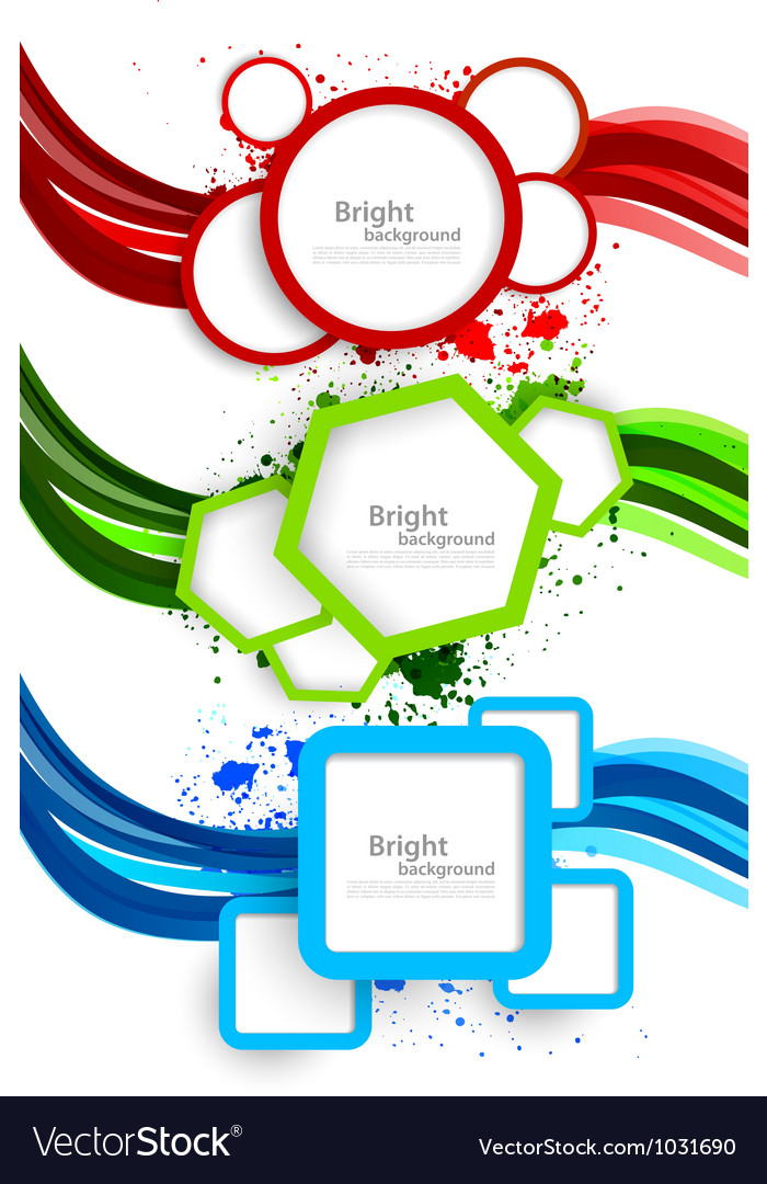 Set of wavy banners with geometric elements vector | Price: 1 Credit (USD $1)