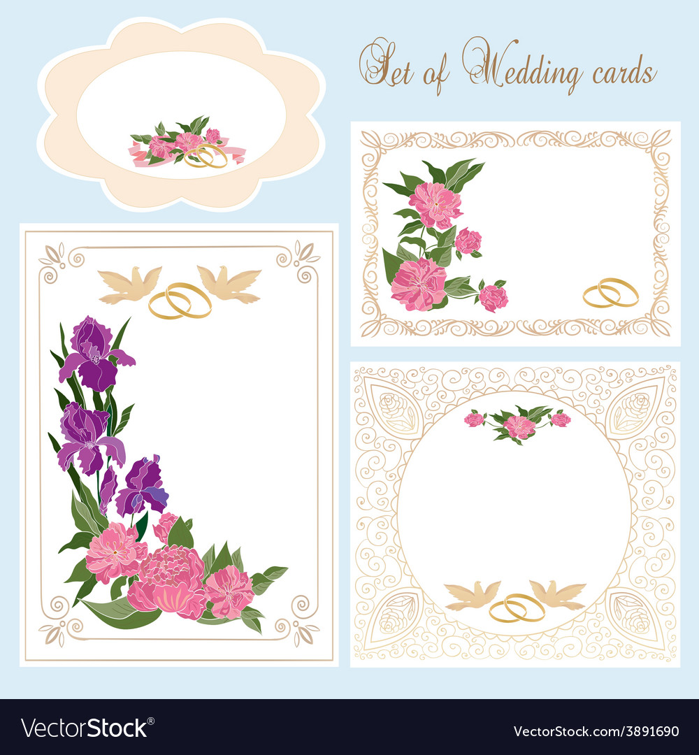 Set of wedding greeting invitation cards vector | Price: 1 Credit (USD $1)
