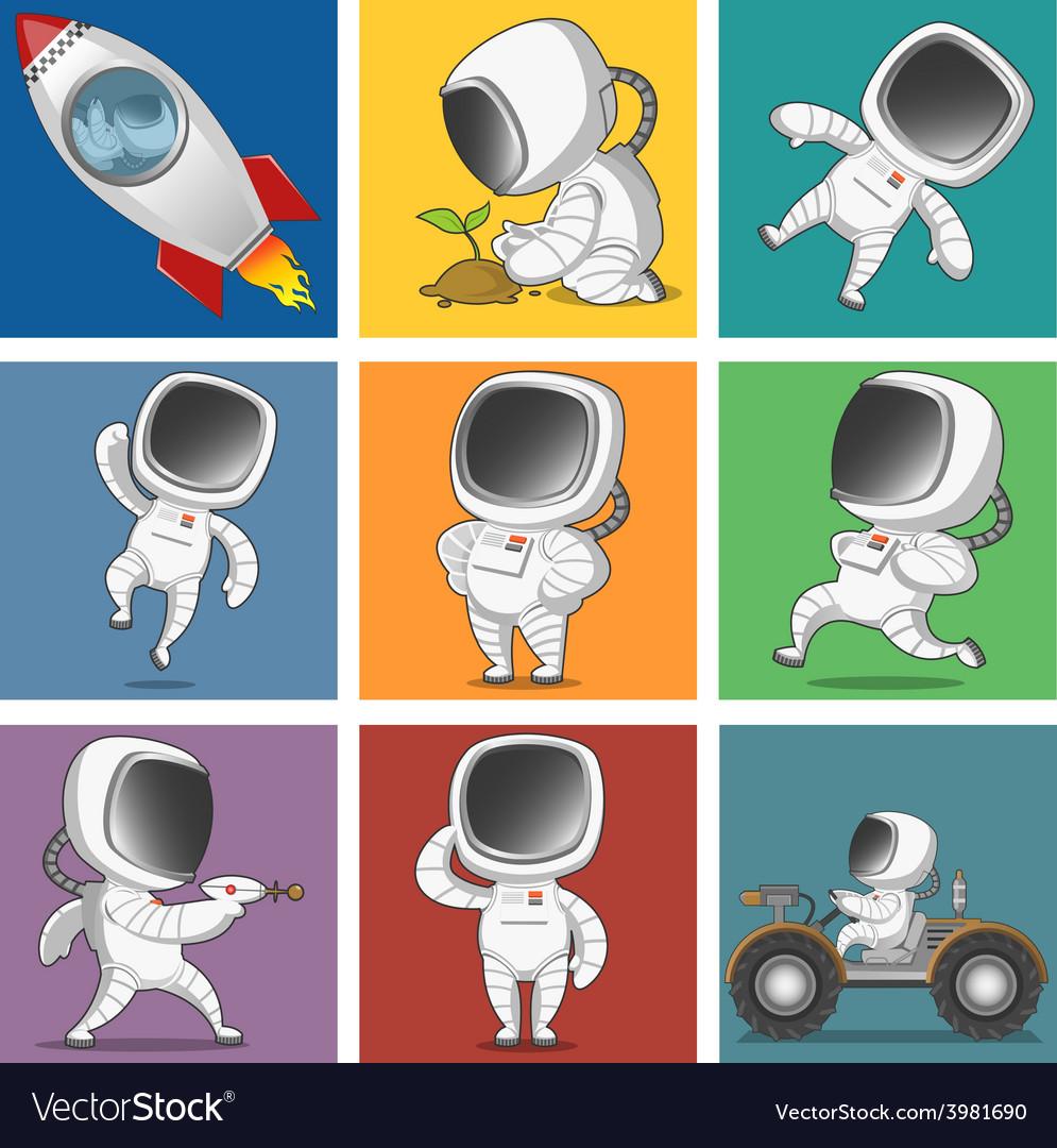 Spaceman set vector | Price: 1 Credit (USD $1)