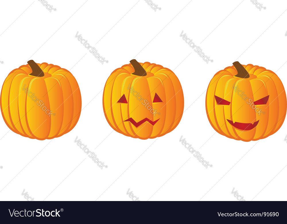 Three halloween pumpkins vector | Price: 1 Credit (USD $1)