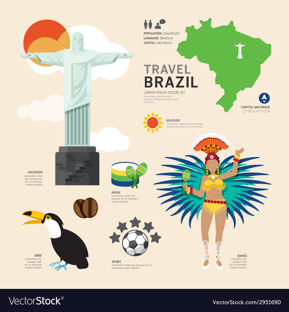 Travel concept brazil landmark flat icons design vector | Price: 1 Credit (USD $1)