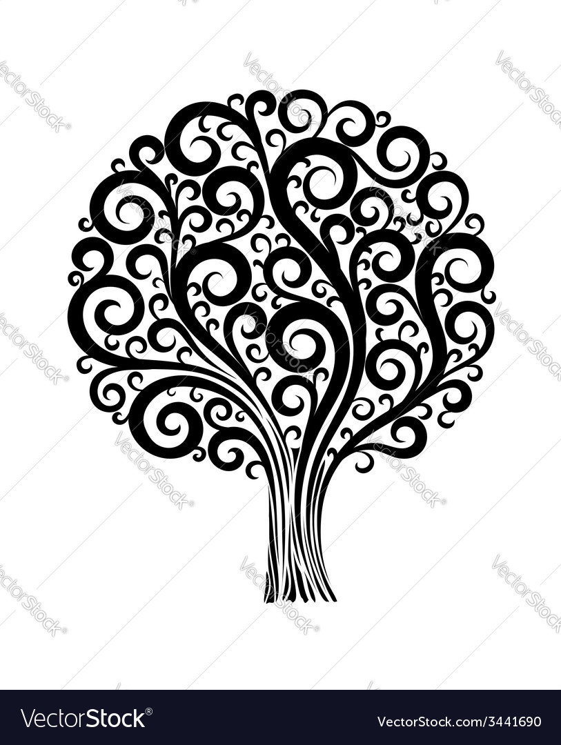 Tree in a flower design with swirls and flourishes vector | Price: 1 Credit (USD $1)