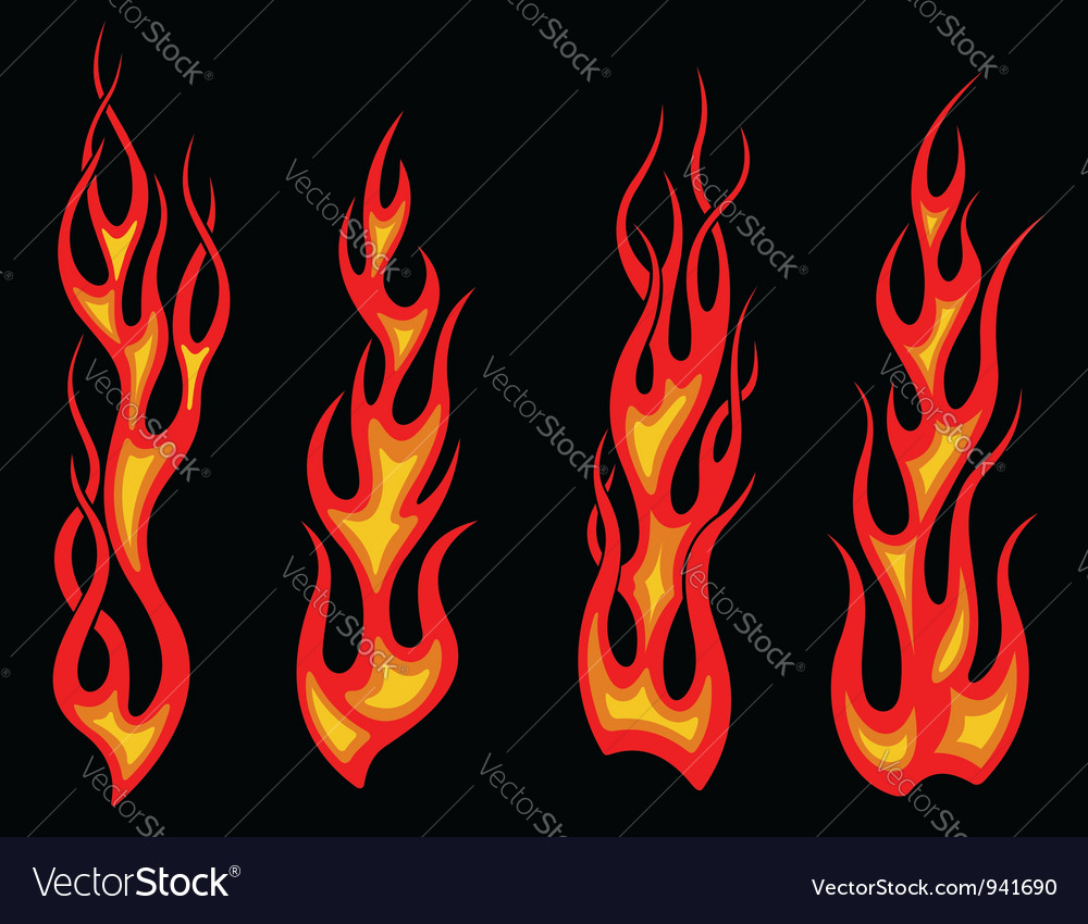 Tribal tattoo flames set for fantasy design vector | Price: 1 Credit (USD $1)
