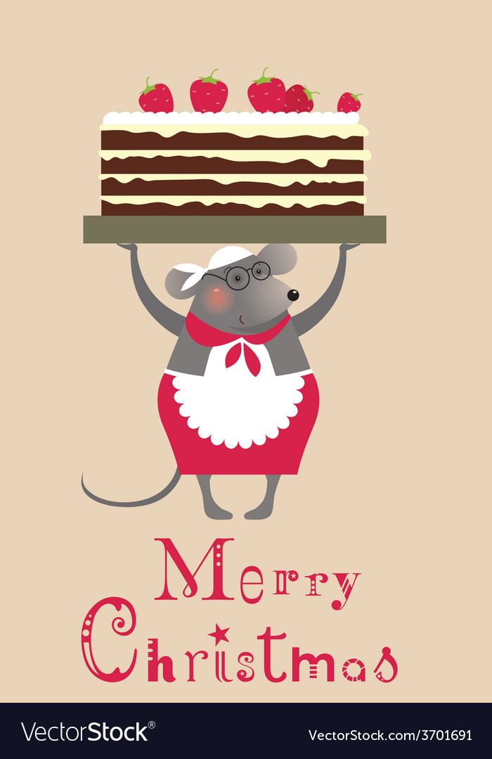 2776 christmas mouse with cake vector | Price: 1 Credit (USD $1)