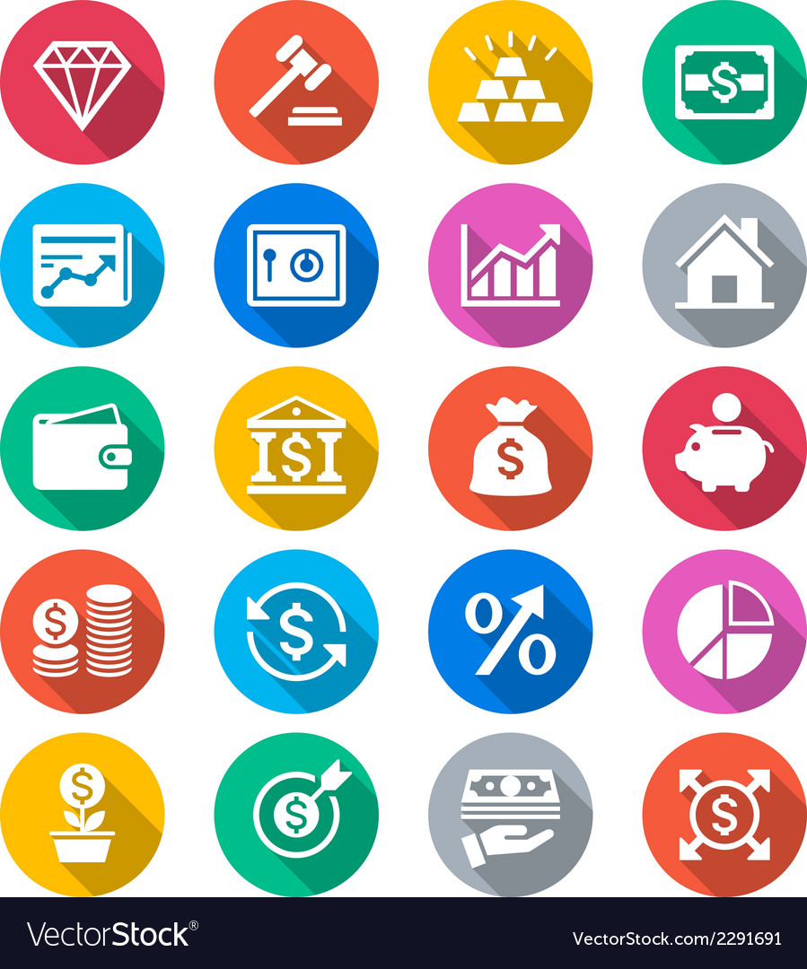 Business and investment flat color icons vector | Price: 1 Credit (USD $1)
