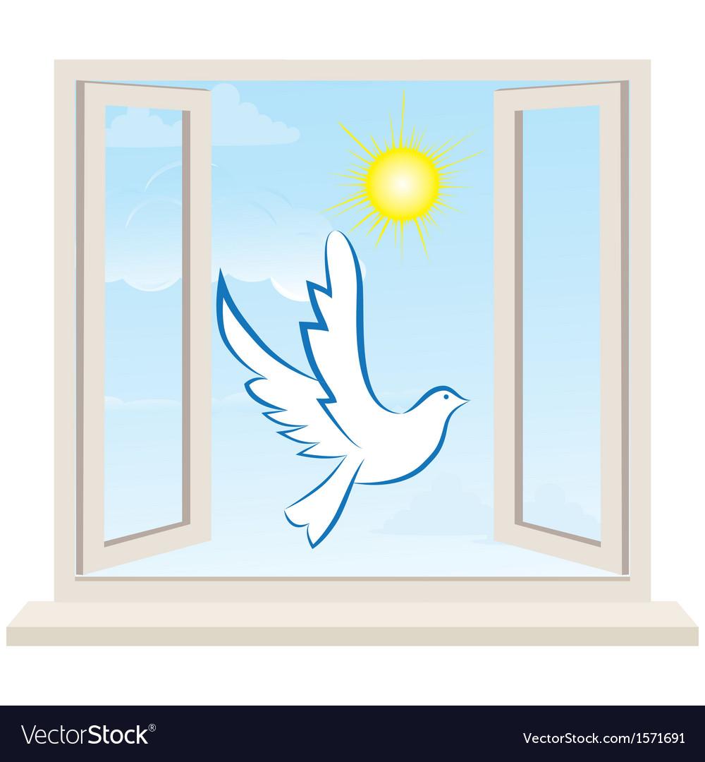 Dove bird pigeon fly in open window vector   Price: 1 Credit (USD $1)