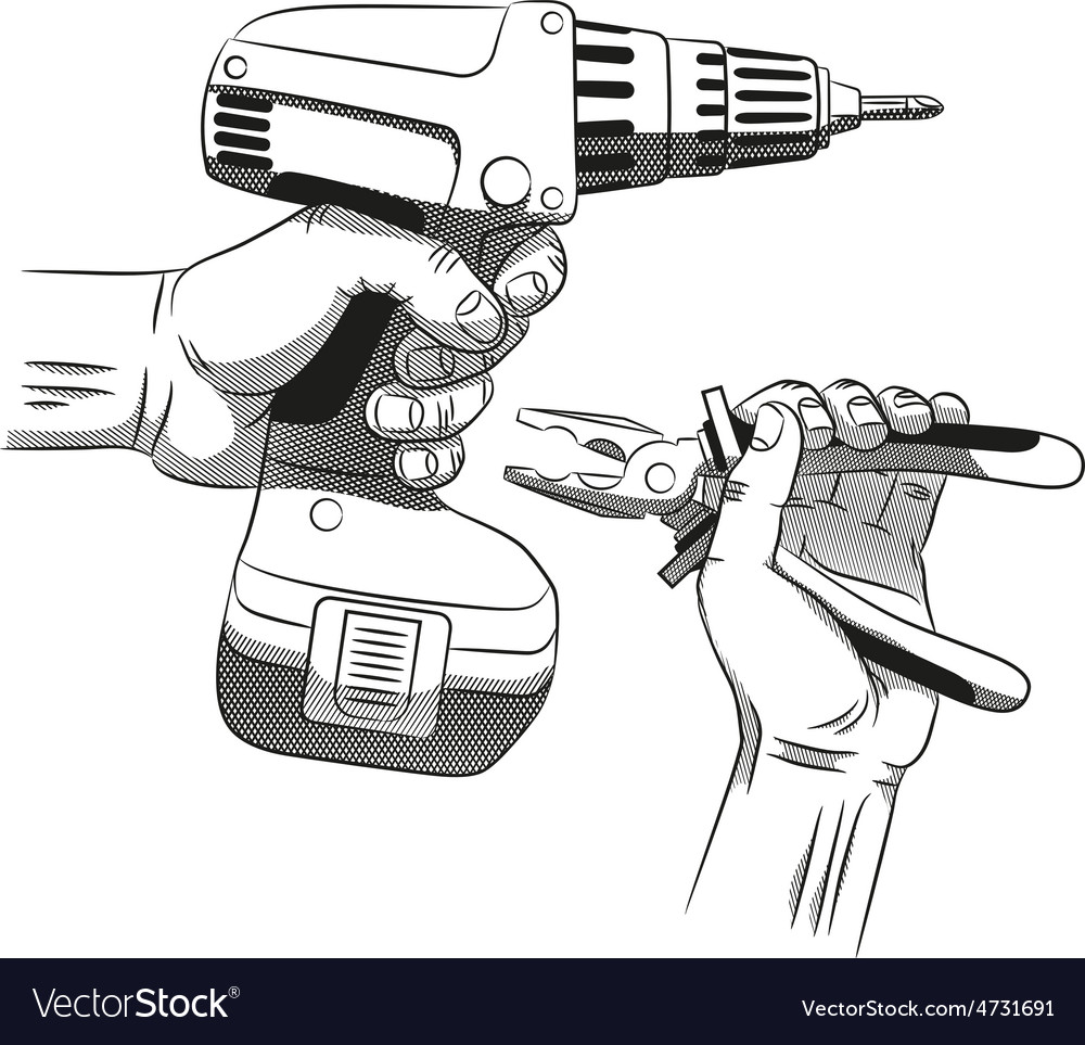 Electric screwdriver and hand with pliers vector | Price: 1 Credit (USD $1)