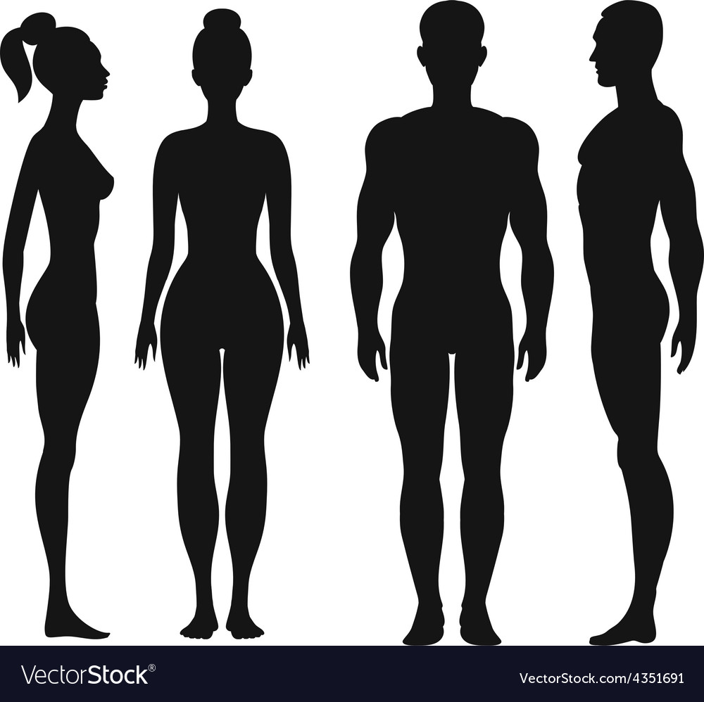 Front and side view silhouettes of man woman vector   Price: 1 Credit (USD $1)