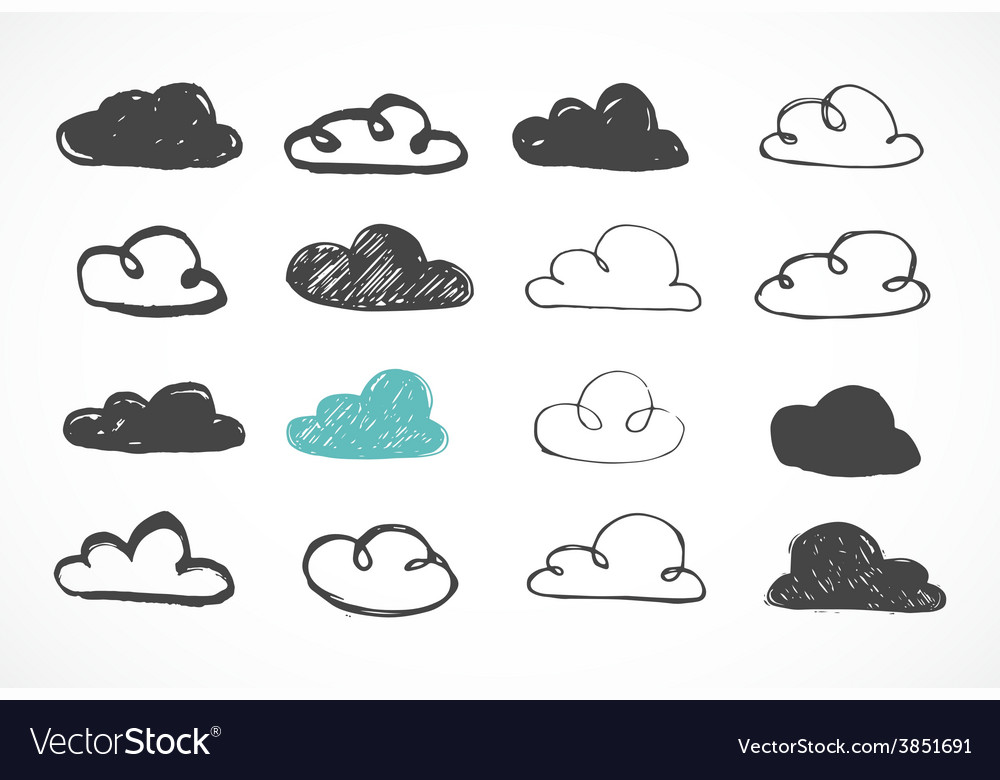 Hand drawing clouds icons vector | Price: 1 Credit (USD $1)