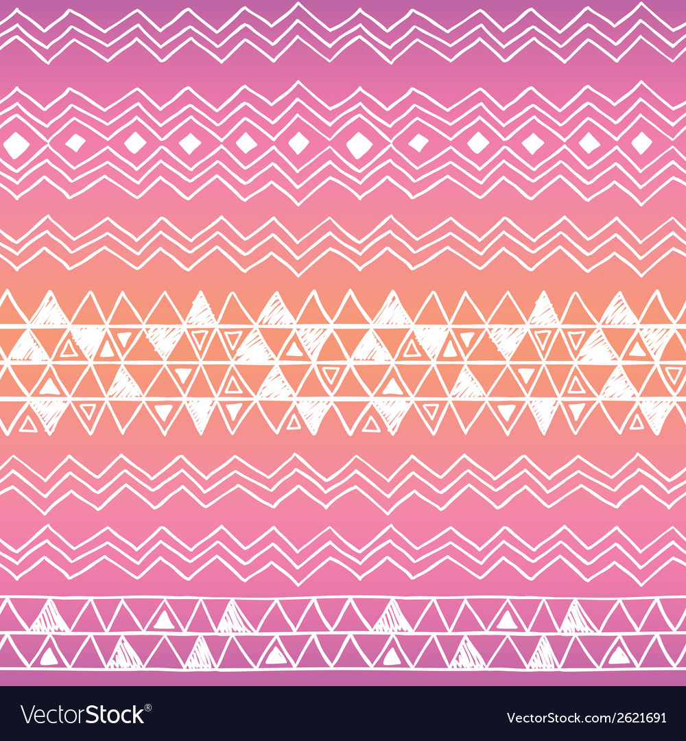 Hand drawn seamless tribal patter with gradient vector | Price: 1 Credit (USD $1)