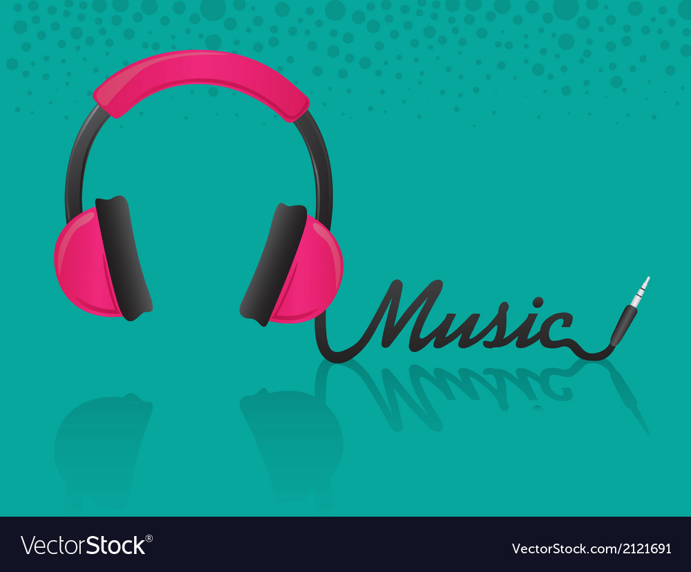 Headphones forming the word music turquoise backgr vector   Price: 1 Credit (USD $1)