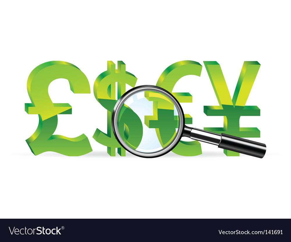 Magnifier and sign of money vector | Price: 1 Credit (USD $1)