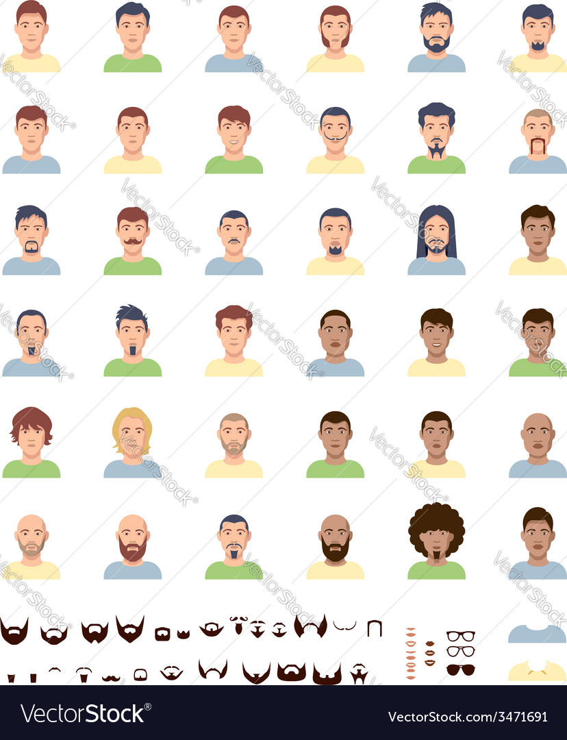 Men faces flat icon set vector | Price: 1 Credit (USD $1)