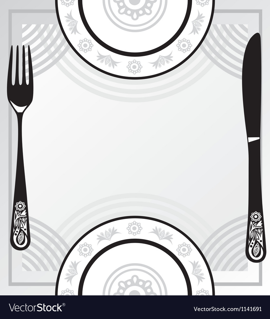 Menu plate fork knife vector | Price: 1 Credit (USD $1)