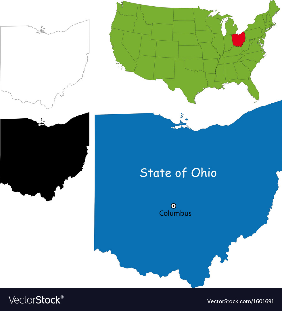 Ohio map vector | Price: 1 Credit (USD $1)