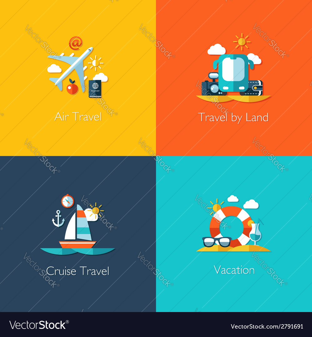 Set of travel flat design compositions vector | Price: 1 Credit (USD $1)