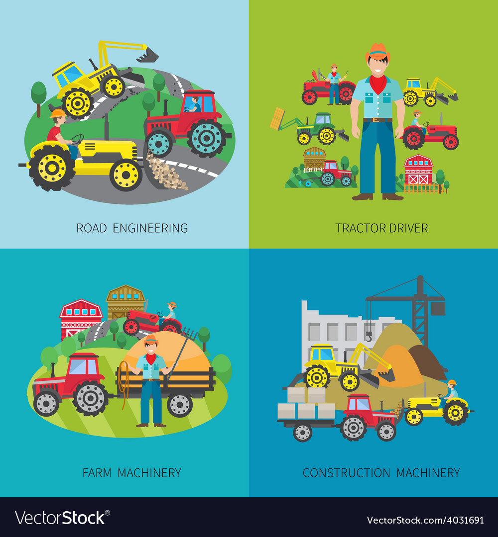 Tractor driver flat set vector | Price: 1 Credit (USD $1)