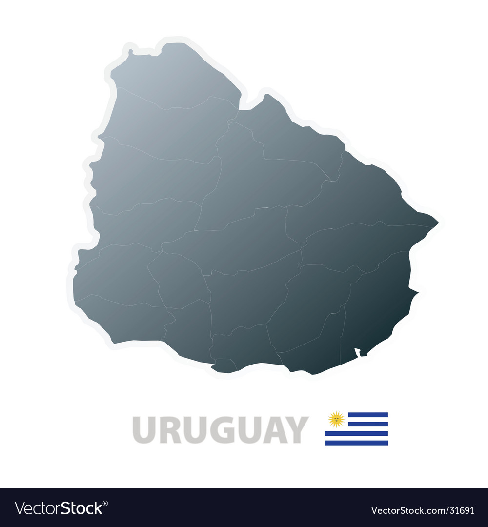 Uruguay map with official flag vector | Price: 1 Credit (USD $1)