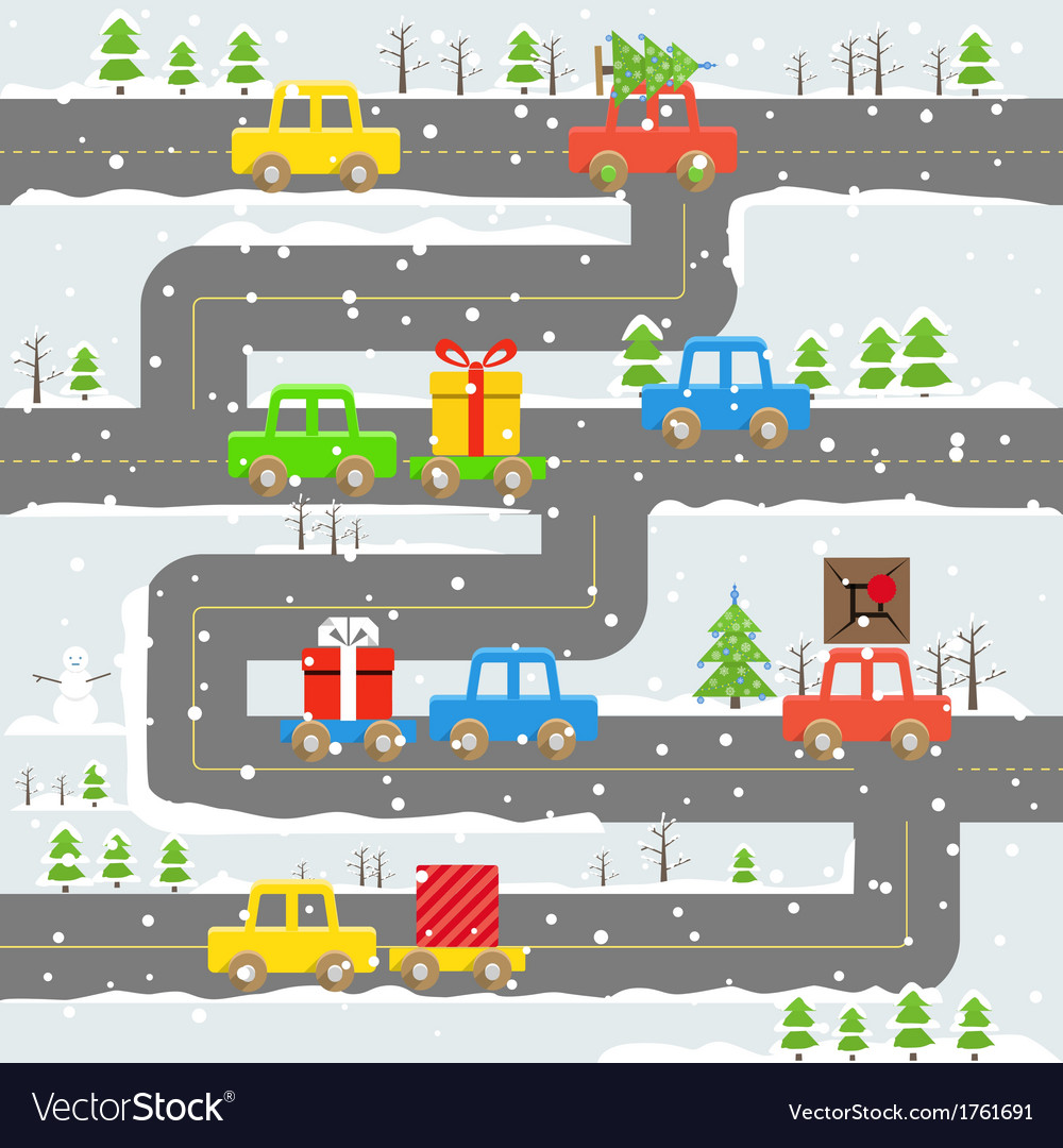 Winter road with cars vector | Price: 1 Credit (USD $1)