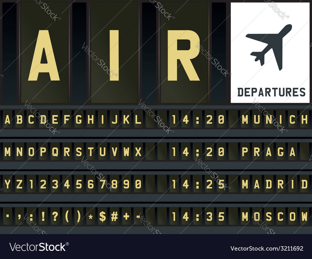 Airport timetable letters vector | Price: 1 Credit (USD $1)