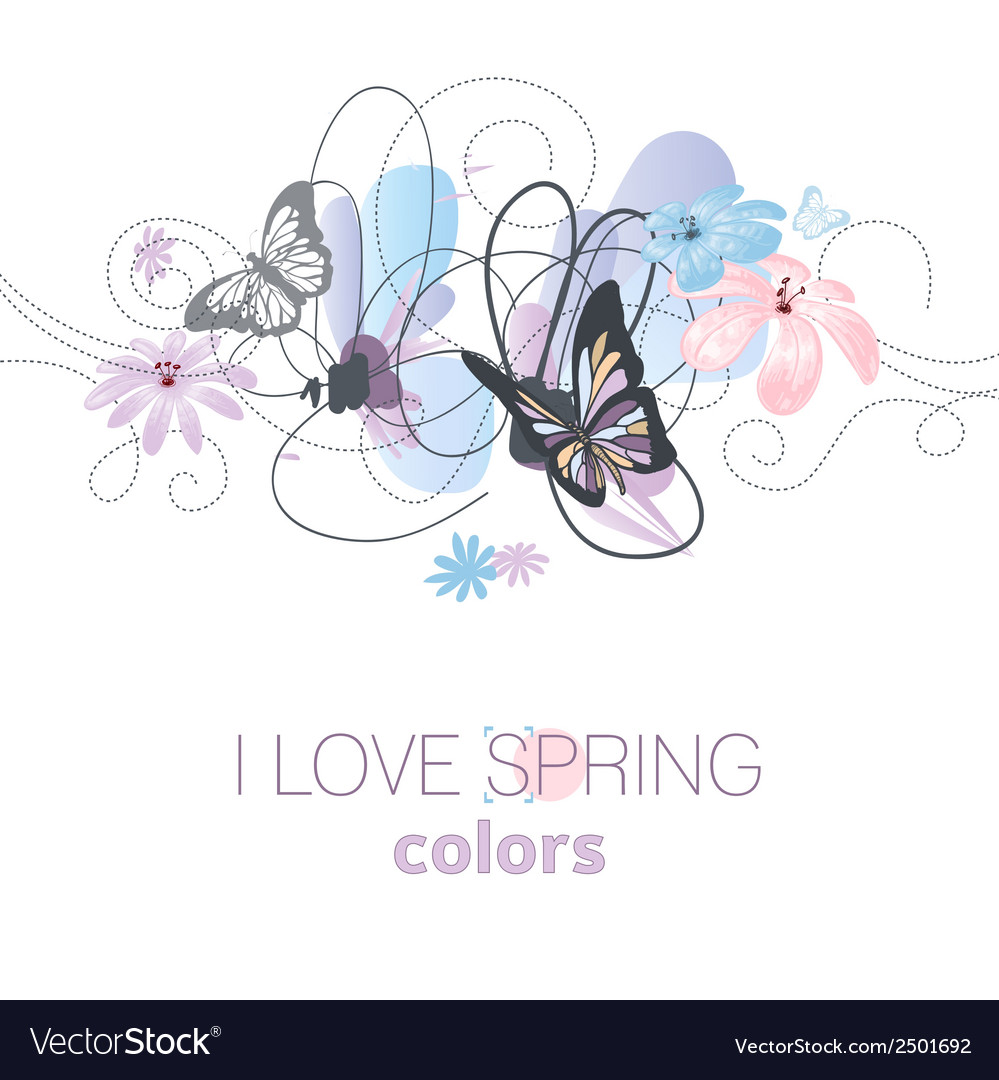 Artistic spring floral card in pastel colors vector | Price: 1 Credit (USD $1)
