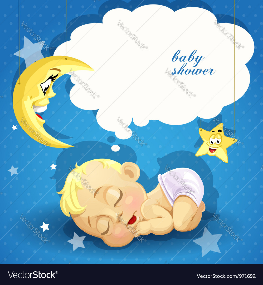 Baby shower card with sweet sleeping newborn baby vector | Price: 3 Credit (USD $3)